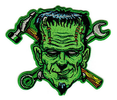 SKULL RACING FLAGS EMBROIDERED IRON ON PATCH mechanic biker psychobilly greaser