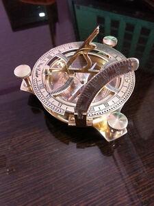 "3/"" Nautical Shiny Brass Flat Compass ~Vintage Marine Directional ~Pocket Compass"