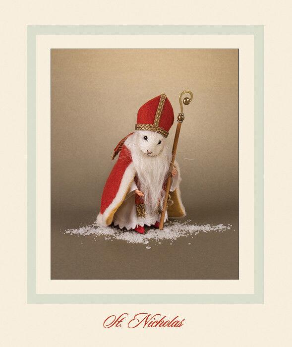 R. John Wright Ratón de San Nicolás Papá Noel Muñeco Coleccionable EE. UU. hecho a mano