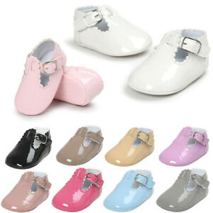 Baby-Girls-Spanish-Style-T-Bar-Buckle-Crib-Pram-Soft-Soled-Toddler-Shoes-Infant
