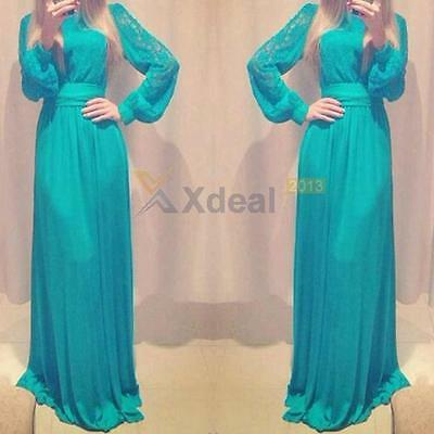 XD#3  Women Lace Chiffon Bodycon Long Sleeve Party Evening Cocktail Maxi Dress