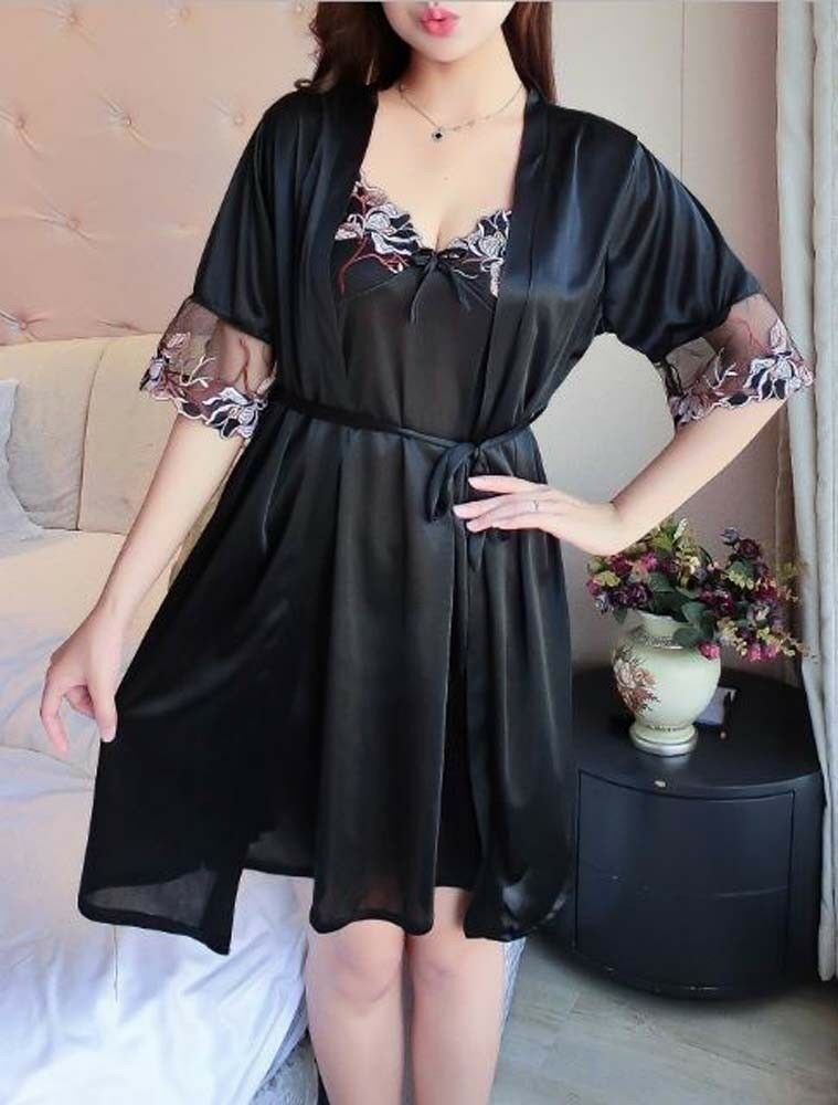 Sexy 2-Piece Ensemble Robe and Nightgown Color Choice B