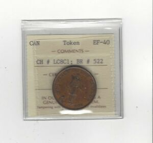 **Canada Token**LC-8C1 / Breton #522,  ICCS Graded**EF-40** Bank Token