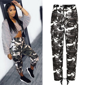 a3dd7facda2b1 Image is loading Womens-Camo-Cargo-Trousers-Pants-Military-Army-Combat-