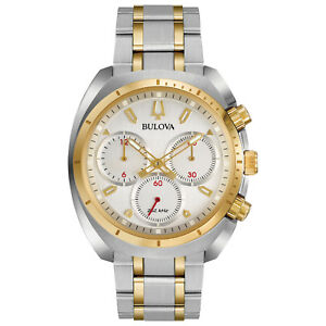 Bulova-CURV-Men-039-s-Quartz-Chronograph-Gold-Tone-Accents-43mm-Watch-98A157