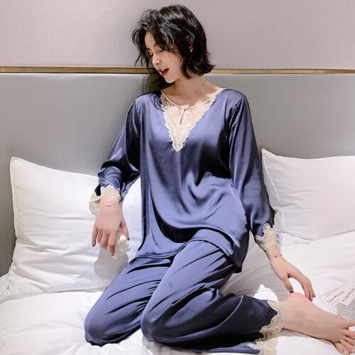 Details about  /Autumn Womens Faux Silk Satin Pajamas Sleepwear Soft Shirts Pants Lace Nightwear