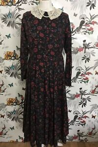 Laura-Ashley-Vintage-70s-Black-Floral-Dress-Size-12-14-Prairie-Boho-Edwardian