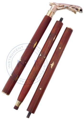 Vintage Handle Victorian Designer JAGUAR Brass Wooden Walking Stick Vintage Cane
