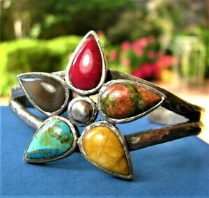 Vntg-BARSE-Multi-Natural-Stone-Star-Flower-Hammered-Sterling-Silver-Bracelet-47g
