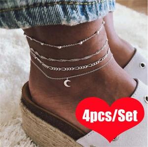 4pcs-Silver-Ankle-Bracelet-Women-Anklet-Adjustable-Chain-Foot-Beach-Jewelry