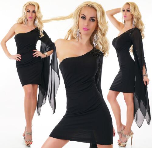 LUCAS & EMMA Kleid Minikleid Abendkleid One Shoulder schwarz Einheitsgr. S-M