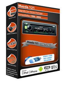 Mazda-121-Radio-Estereo-Coche-Kenwood-CD-Mp3-Reproductor-con-Frontal-USB-Aux
