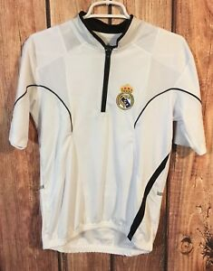 cheap for discount 1a5fd 35ecb Details about Real Madrid Cycling Jersey Mens Small S Short Sleeve 1/4 Zip  White Soccer RARE