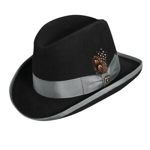840812395 Details about STACY ADAMS * MENS BLACK & GREY WOOL HOMBURG HAT * M L *  LINED GODFATHER FEDORA