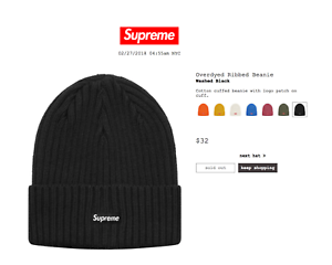c78a5b5622d Image is loading Supreme-Overdyed-Ribbed-Beanie-brand-new-black