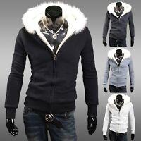 Men's Winter Jacket Slim Fit Hoodies Hooded Pullover Sweater Casual College Coat