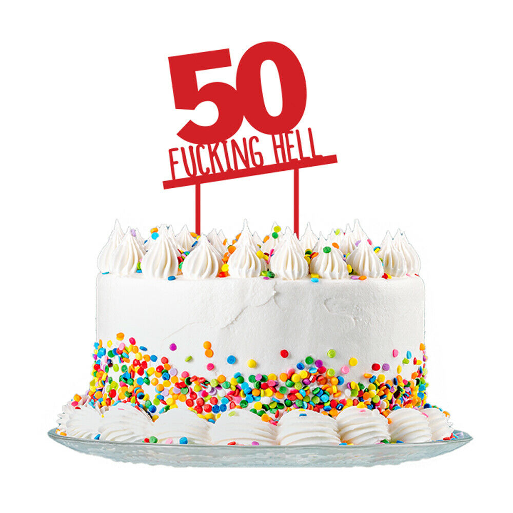 Wondrous 50Th Birthday Cake Topper 3Mm Red Acrylic Rude Funny Party Funny Birthday Cards Online Sheoxdamsfinfo