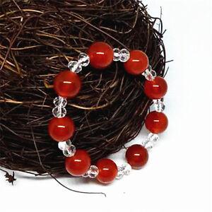 White-crystal-ball-Women-Natural-jade-Bracelet-red-round-beads-gemstone-agate
