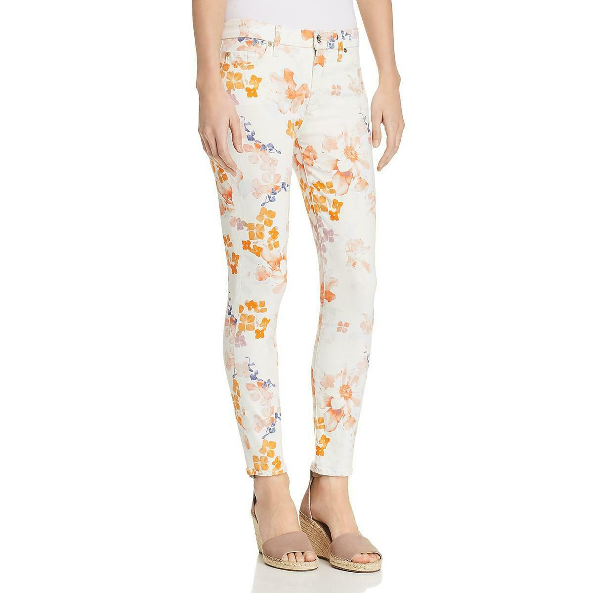 7 For All Mankind Womens Ivory Denim Skinny Ankle Jeans 24 BHFO 9371