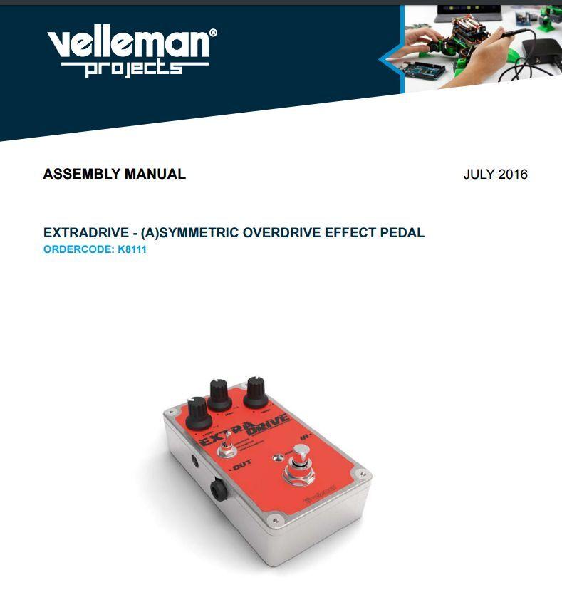 Velleman K8111 extradrive - (a) simétrico Overdrive Pedal Pedal Pedal De Efecto Hágalo usted mismo kit 67b125