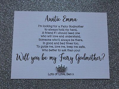 Will You Be My//Our Godmother Godfather Godparents Personalised Poem Request Card
