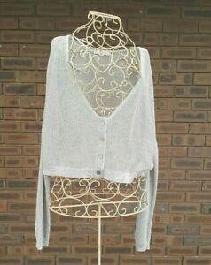 Metalicus-Australia-Size-S-M-Silver-Cardigan-Top-Knit-Jacket-Crop-Long-Sleeve