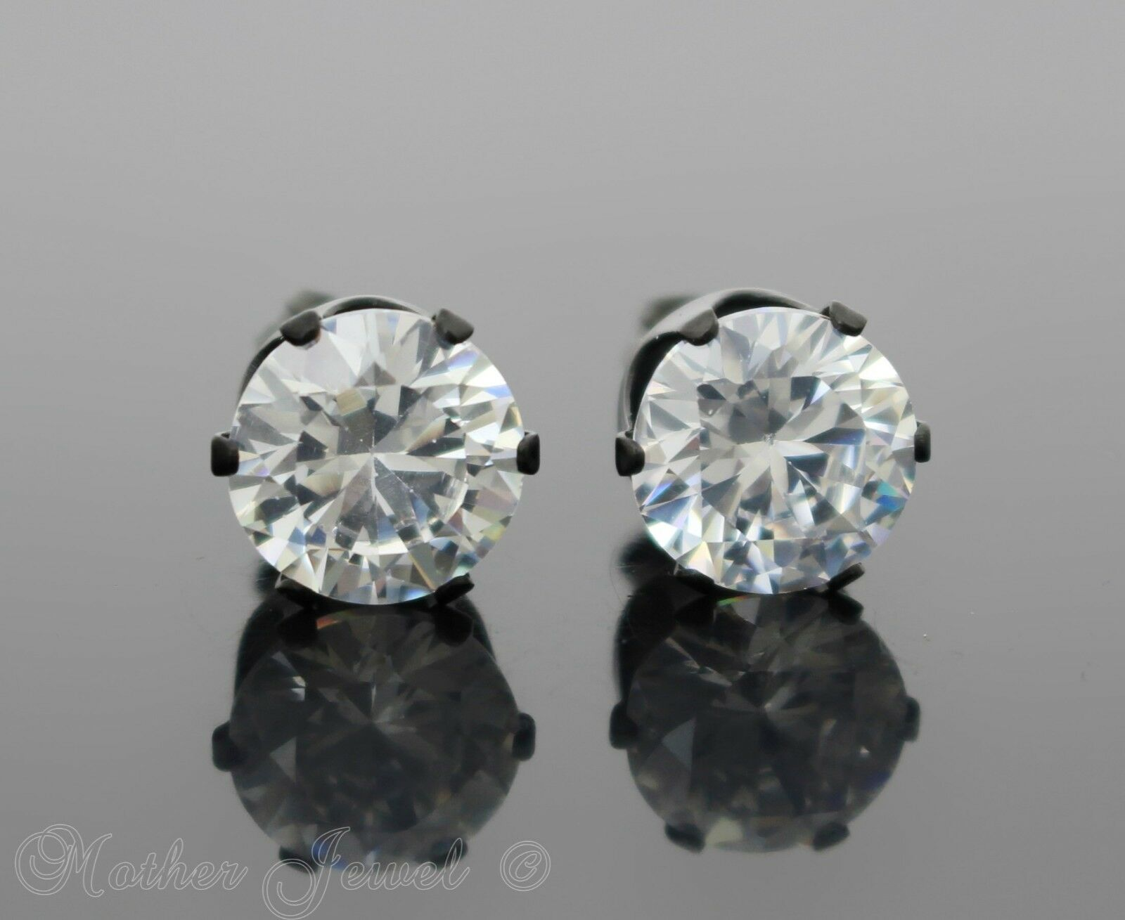 3mm-10mm Round Solid 925 Sterling Silver Solitaire Stud Post Earrings Round Simulated Blue Opal