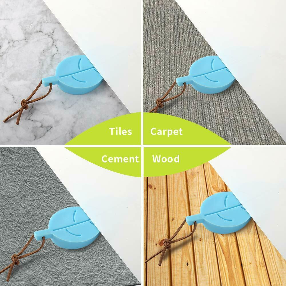 Cute Colorful Cartoon Leaf Style Secure Flexible Decorative Finger Protector 4 Pcs 4Pcs Door Stopper Wedge Finger Protector Silicone Door Stops Green, Yellow, Blue, Brown for Home and Office