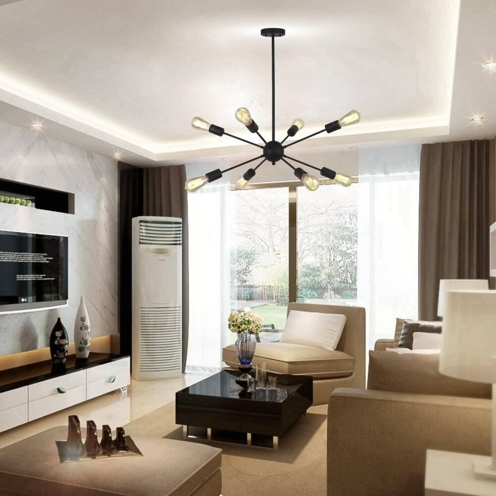 8-Light Sputnik Chandelier Lamp Black Ceiling Light Industrial Pendant Light