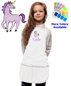 Personalized Embroidered UNICORN Child APRON and Chef Hat Boy Girl