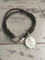 Men's Leather Bracelet - 925 Sterling Silver Clasp & 925 Silver St Christopher