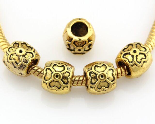 30ps Antique Gold Tone Four Leaf Clover Charm Beads Fit Bracelet J013