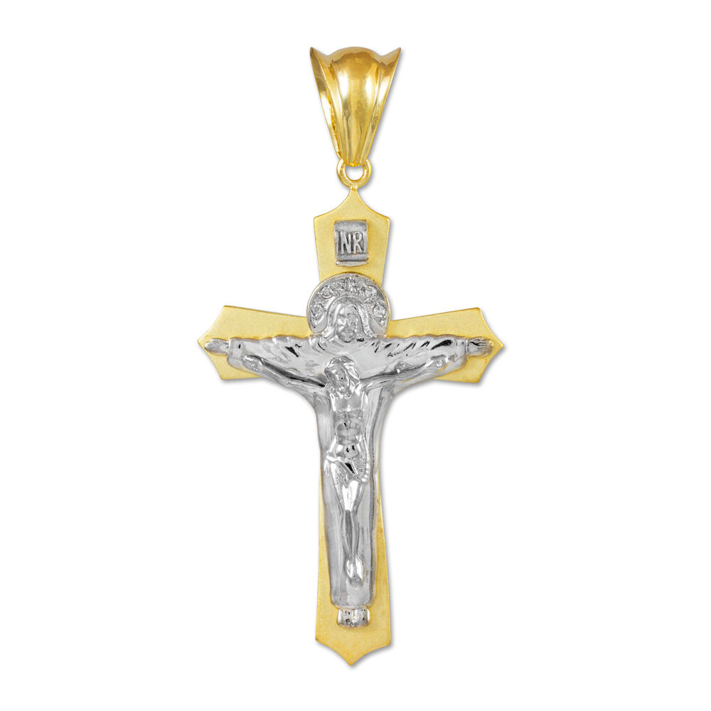 Fine 14k Yellow White Two-Tone gold Holy Trinity Crucifix Cross Pendant Midsize