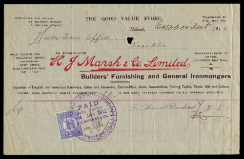 TASMANIA 1911 Attractive H Marsh account with 1d Stamp Duty Nice timestamp