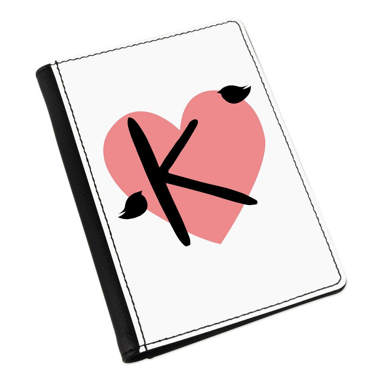 Lettre K K Lettre COEUR alphabet Porte-passeport étui Housse Portefeuille-Amour Saint Valentin 68df71