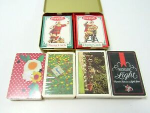 LOT-6-NEW-DECKS-VINTAGE-COLLECTIBLE-PLAYING-CARDS-TRUMP-COCA-COLA-BEER-ARRCO