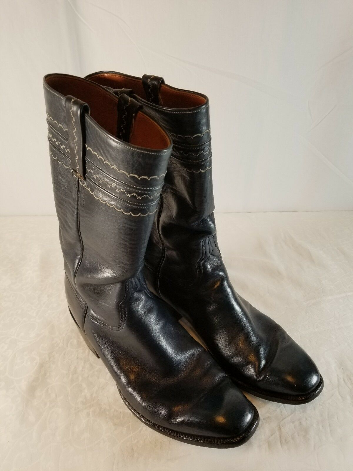 Lucchese Navy bluee Leather Cowboy Boots Mens Size 9.5 D EUC