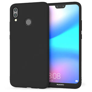 on sale dc543 c74b3 Details about Huawei P20 Lite Case Slim Silicone Ultra Soft Gel Best Phone  Cover - Matte Black