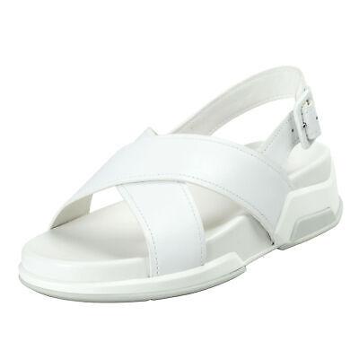 Prada Women's White Leather Strappy Open Toe Sandals Shoes Sz 7 7.5 8.5 9 9.5