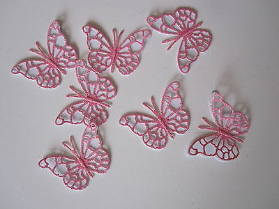 12 Small 3d Die Cut Butterfly Toppers Pink Glitter / White Card