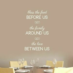Details about Bless The Food Before Us Wall Decal - Family Quotes Kitchen  Dining Room Decals