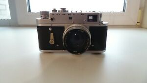 Vintage camera Zorky 4 with a Jupiter 8 lens. Produced in the 1970s in the USSR
