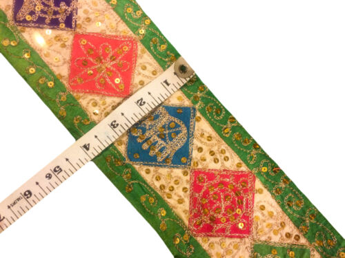 Vintage Embroidered  Trim Indian Ribbon Sari Border Sewing Lace By 1 Yard ST1253