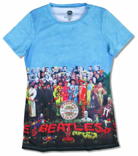 Beatles Sgt Peppers Album Cover Sublimated All Over Juniors T Shirt New Official