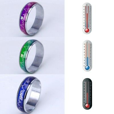Heartbeat Ecg Mood Ring Emperature Color Changing Magic Wedding Rings Ebay
