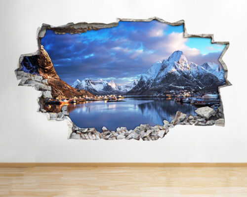 H924 Snow Mountains Village Winter Smashed Wall Decal 3D Art Stickers Vinyl Room