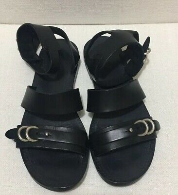 RAG & BONE Lara Flat Leather Sandals Black Sz 36 | eBay