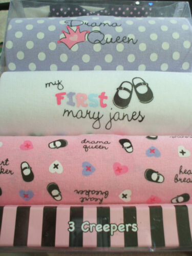 NIB Set of 3 Baby Girl Creepers Onesies Drama Queen Heartbreaker Mary Jane 0-6 M