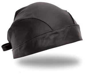 Solid-Black-Leather-Skull-Cap-Head-Wrap-Doo-Rag-Biker-Bandana-Hat-Beanie