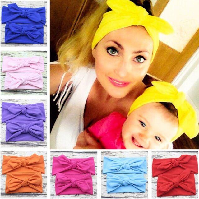 2x Women Kids Baby Girl Elastic Bow Knotted Turban Hair Band Headband Headwear